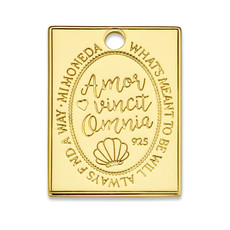 Mi Moneda Mi Moneda Monogram tag Avo Rectangle 20 mm Gold Plated