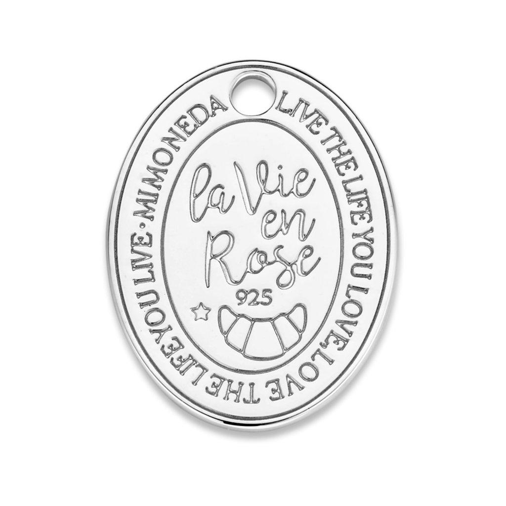 Mi Moneda Mi Moneda Monogram tag Rose Oval 20 mm Silver