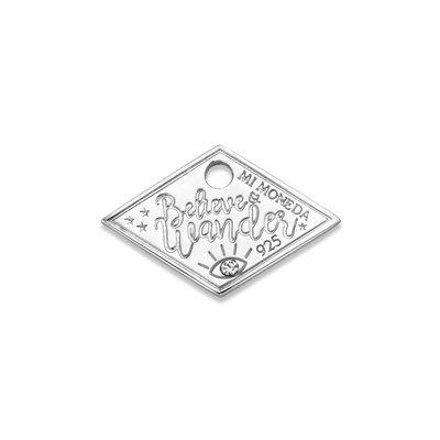 Mi Moneda Mi Moneda Monogram tag Wander Diamond 20 mm Silver
