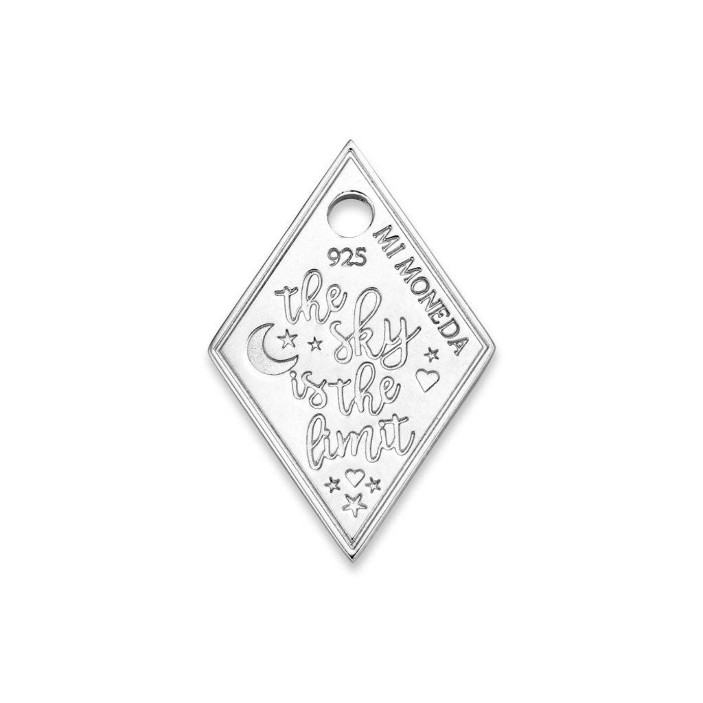 Mi Moneda Mi Moneda Monogram tag Sky Diamond 20 mm Silver