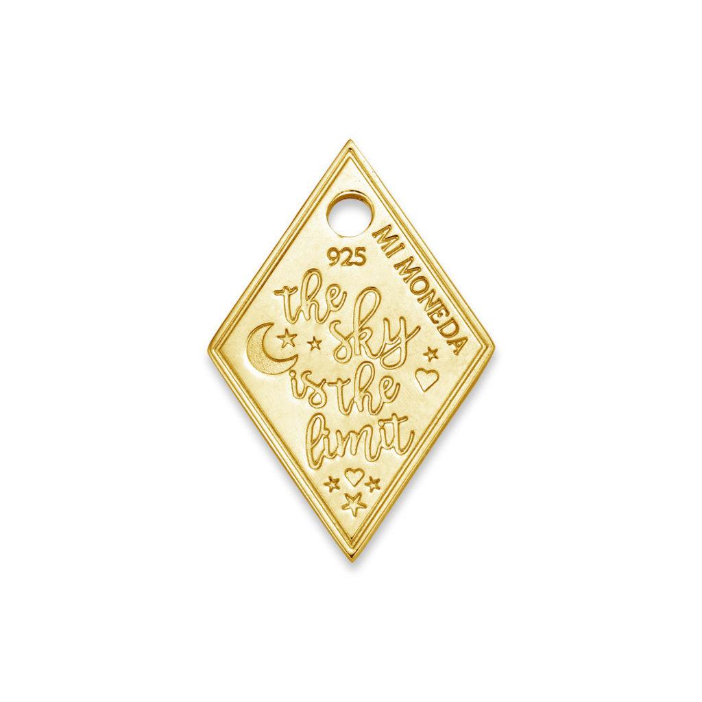 Mi Moneda Mi Moneda Monogram tag Sky Diamond 20 mm Gold Plated