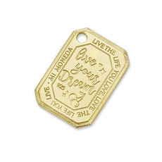 Mi Moneda Mi Moneda Monogram tag Cherry Rectangle 20 mm Gold Plated