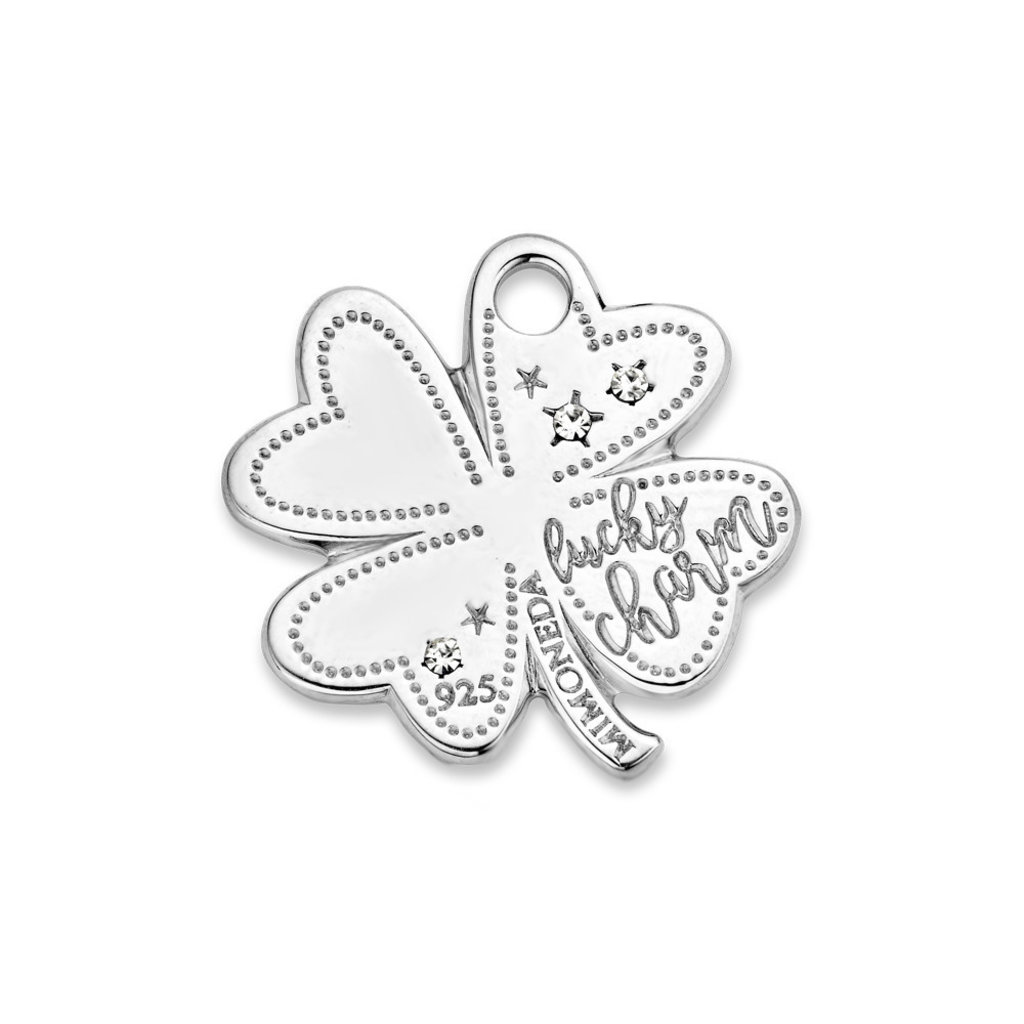 Mi Moneda Mi Moneda Monogram tag Lucky Clover 20 mm Silver