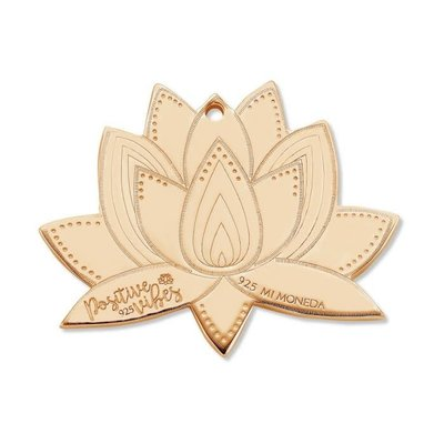 Mi Moneda Mi Moneda Monogram tag Lotus 20 mm Rosé Gold Plated