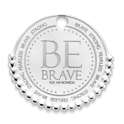 Mi Moneda Mi Moneda Monogram tag Be Brave 20 mm Silver