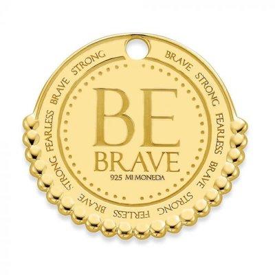 Mi Moneda Mi Moneda Monogram tag Be Brave 20 mm Gold Plated
