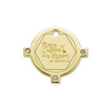 Mi Moneda Mi Moneda Monogram tag Dream Round 15 mm Gold Plated