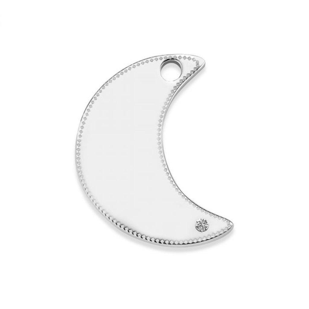Mi Moneda Mi Moneda Monogram tag Moon 20 mm Silver