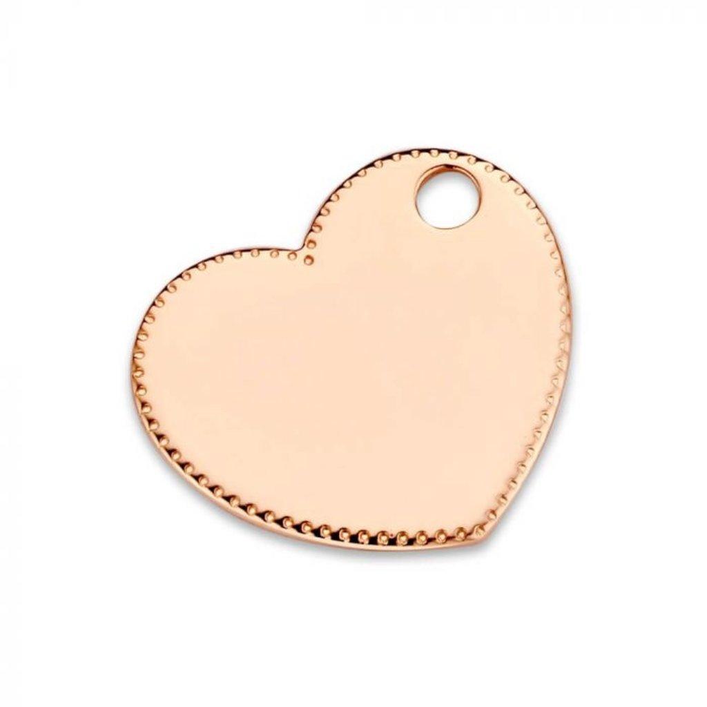 Mi Moneda Mi Moneda Monogram tag Queen Bee Heart 15 mm Rosé Gold Plated