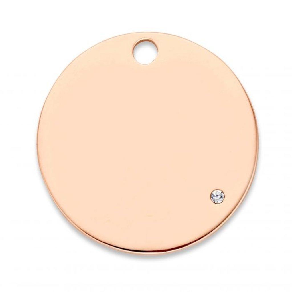 Mi Moneda Mi Moneda Monogram tag Love Life Deluxe Round 20 mm Rosé Gold Plated