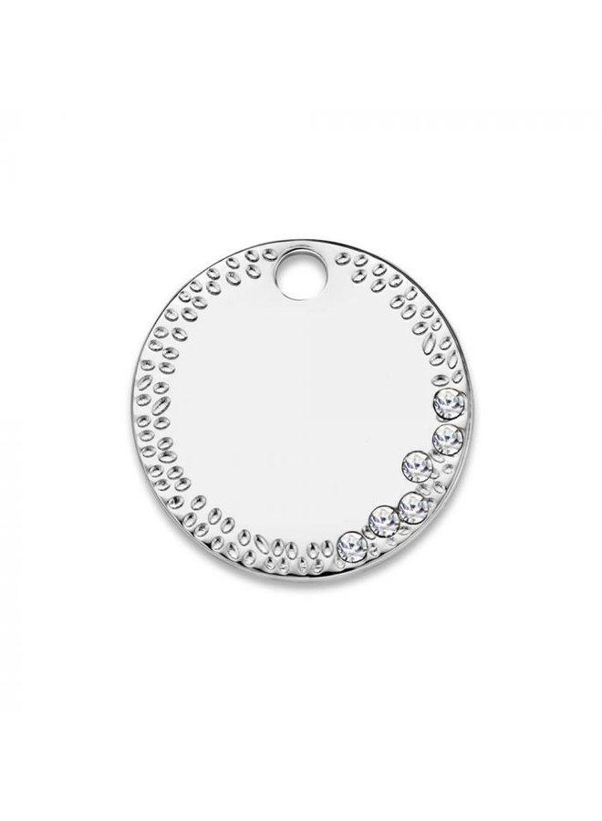 Mi Moneda Monogram tag Dolce Vita Deluxe Round 15 mm Silver