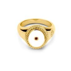 Mi Moneda Mi Moneda Icons ring Oval White Gold Plated