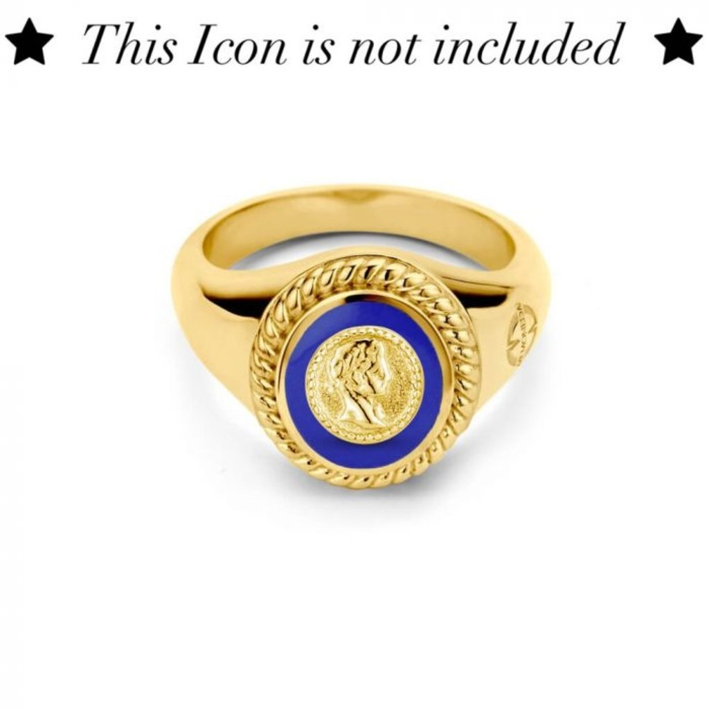 Mi Moneda Mi Moneda Icons ring Oval Pacific Blue Gold Plated