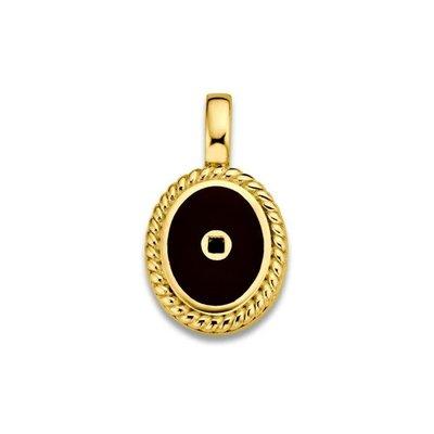 Mi Moneda Mi Moneda Icons pendant Oval Black Gold Plated