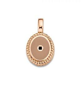 Mi Moneda Mi Moneda Icons pendant Oval Smokey Rosé Gold Plated