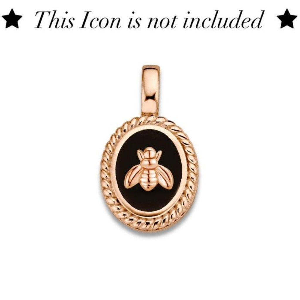 Mi Moneda Mi Moneda Icons pendant Oval Black Rosé Gold Plated