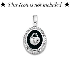 Mi Moneda Mi Moneda Icons pendant Oval Black Silver