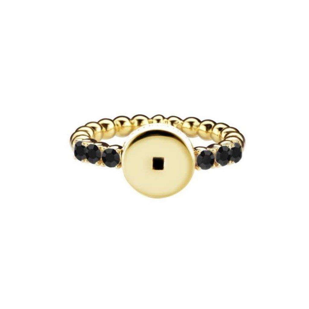 Mi Moneda Mi Moneda Icons ring Round Black Gold Plated