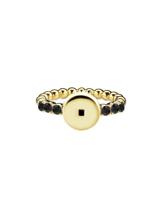 Mi Moneda Icons ring Round Black Gold Plated