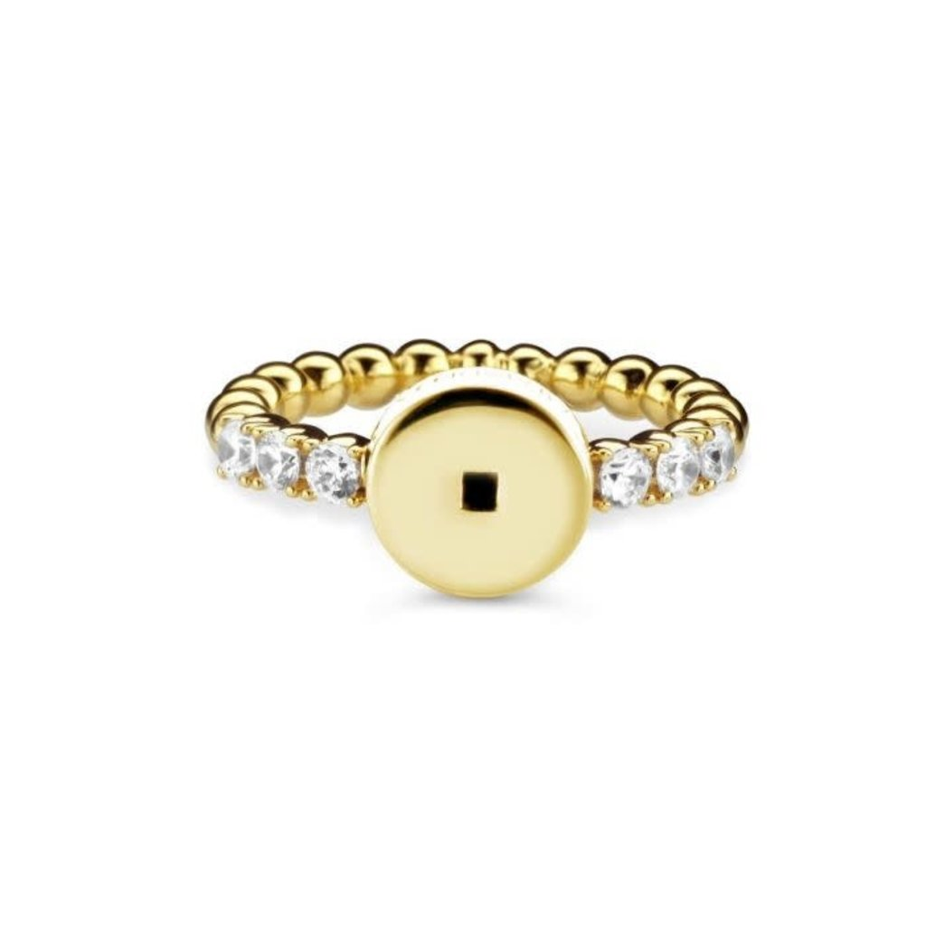 Mi Moneda Mi Moneda Icons ring Round White Gold Plated