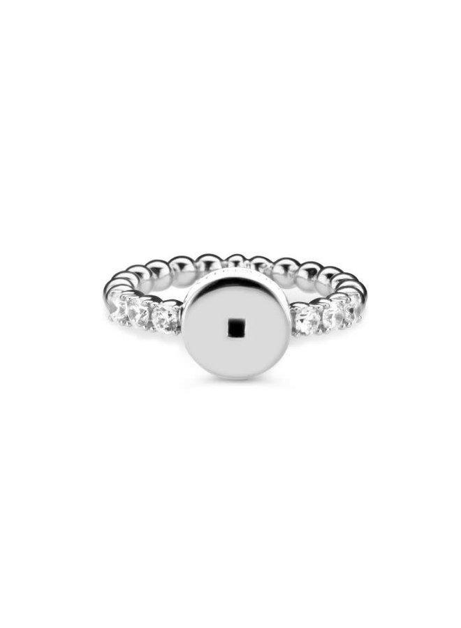 Mi Moneda Icons ring Round White Silver