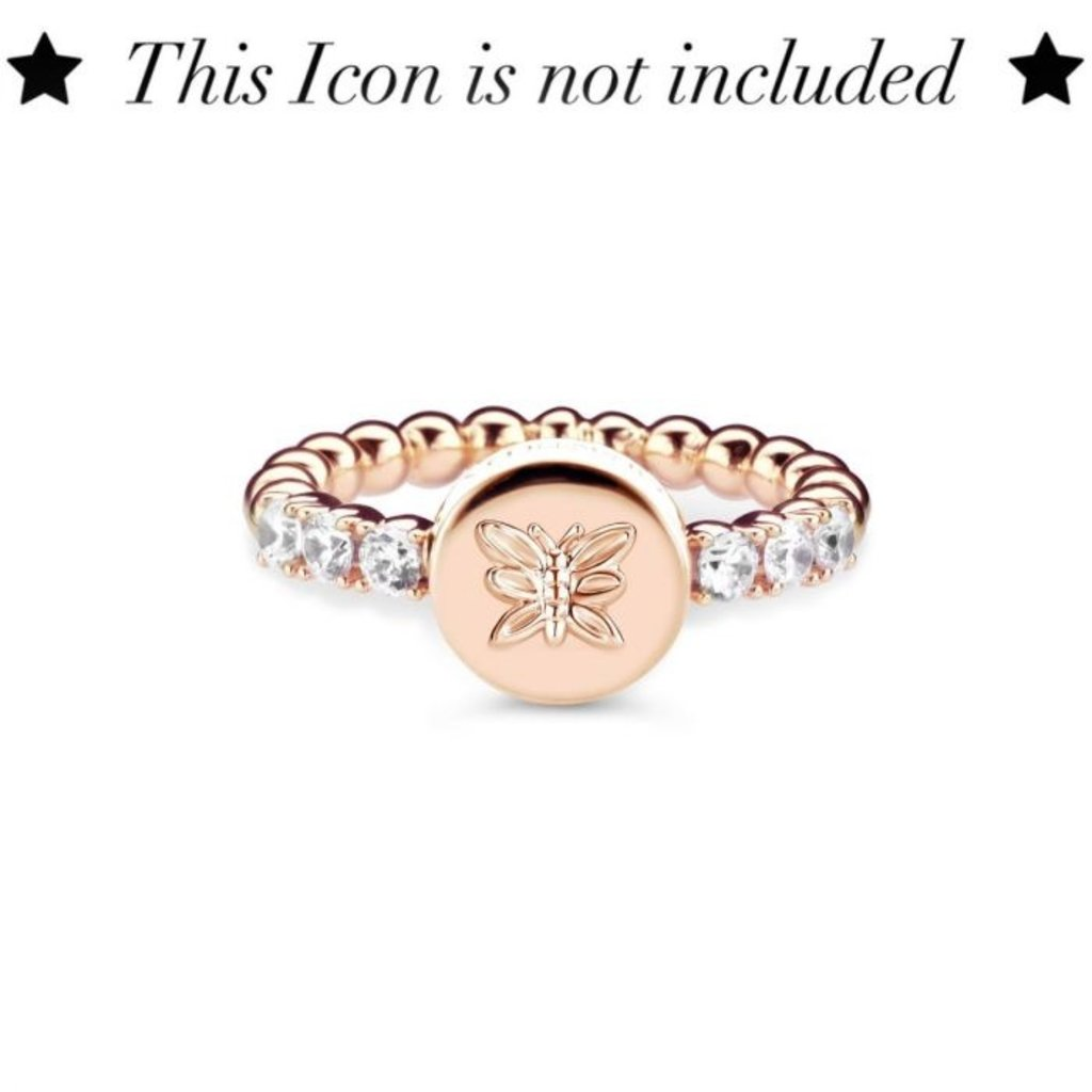 Mi Moneda Mi Moneda Icons ring Round White Rosé Gold Plated