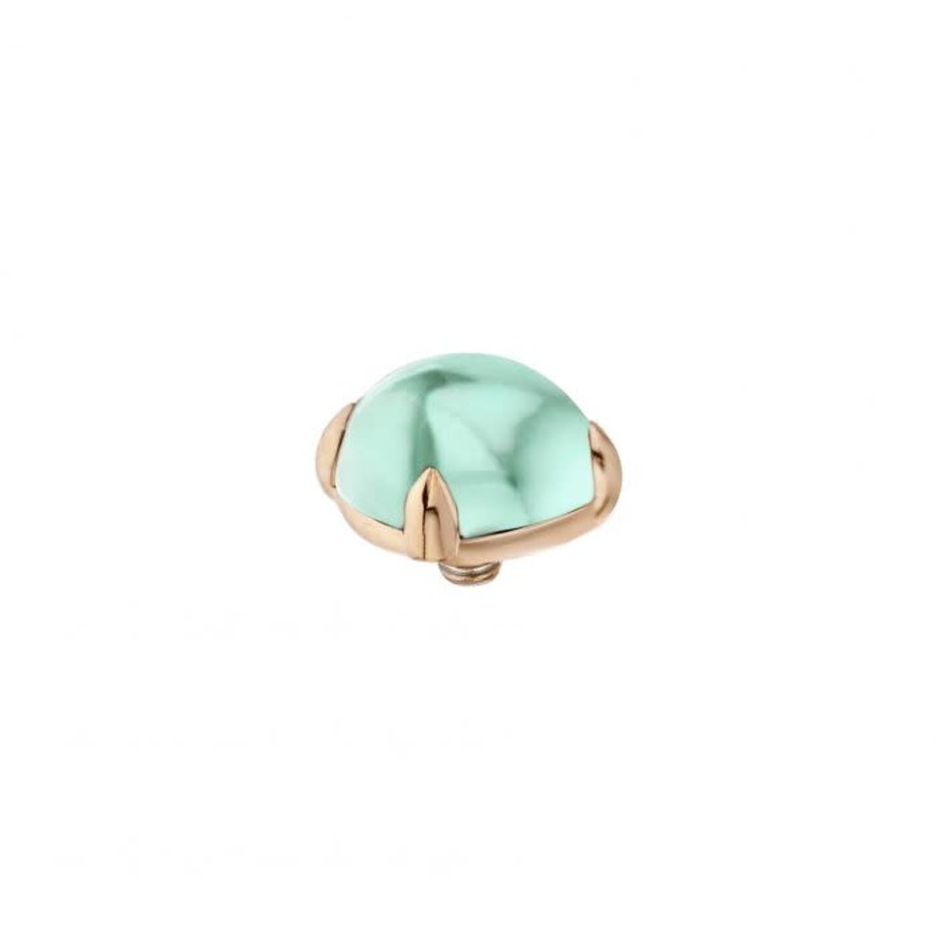 Melano Melano Twisted meddy Bold 8 mm Rosé Gold Plated Turquoise