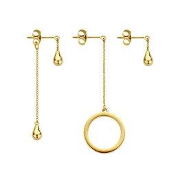 Melano Melano Friends oorbellen Ring & Teardrop Gold Plated