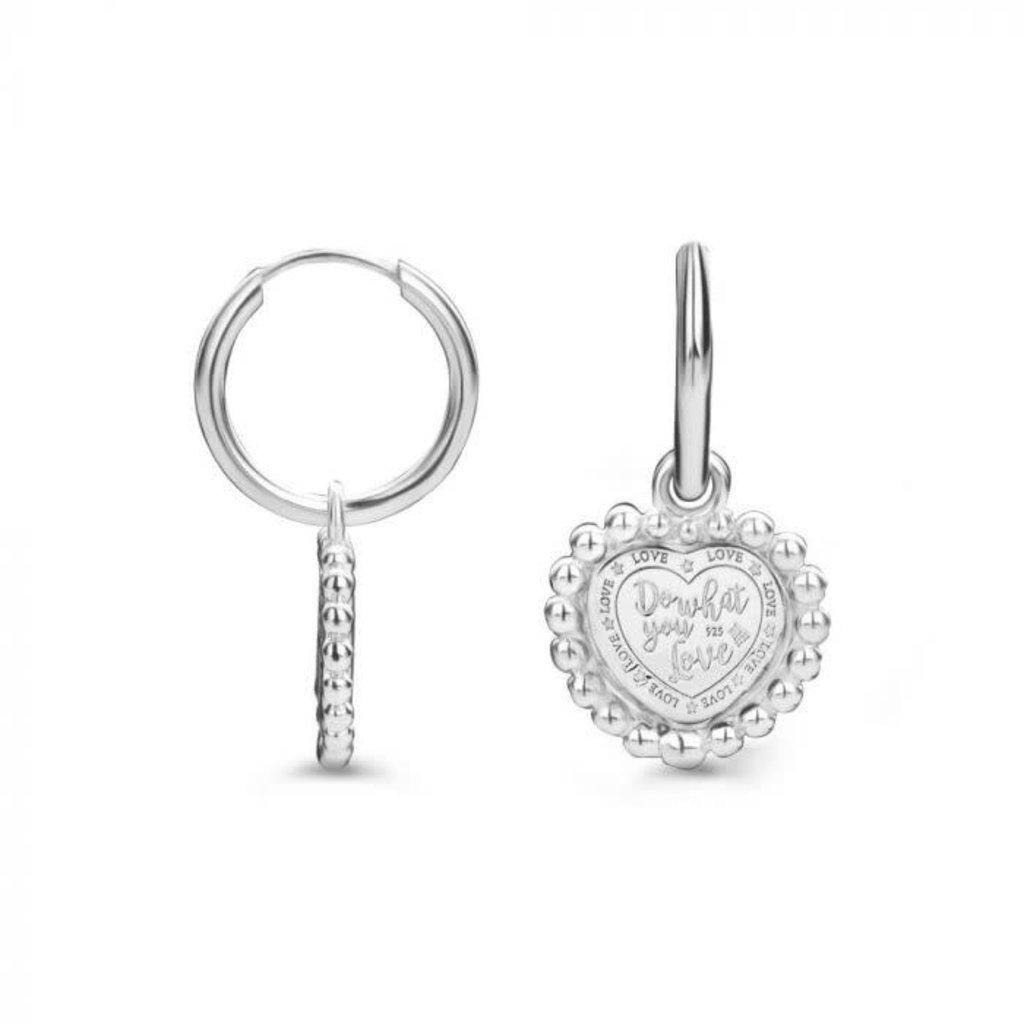 Mi Moneda Mi Moneda Vintage oorbellen Queens Heart Silver