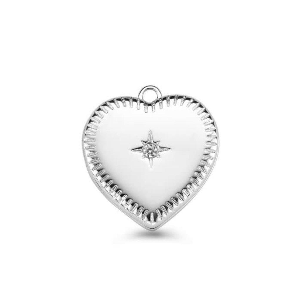 Mi Moneda Mi Moneda Vintage medallion Heart Silver