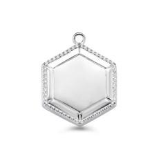 Mi Moneda Mi Moneda Vintage medallion Hexagon Silver