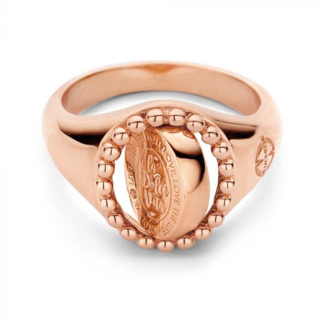 Mi Moneda Mi Moneda Vintage ring Soho Oval Rosé Gold Plated