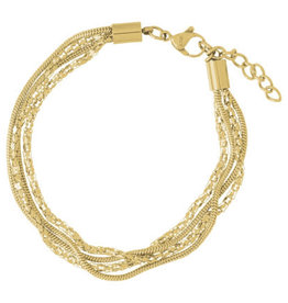 iXXXi Jewelry iXXXi enkelbandje Snake & Popcorn Gold Plated