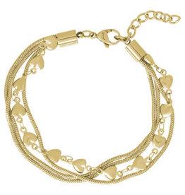 iXXXi Jewelry iXXXi enkelbandje Snake & Hearts Gold Plated