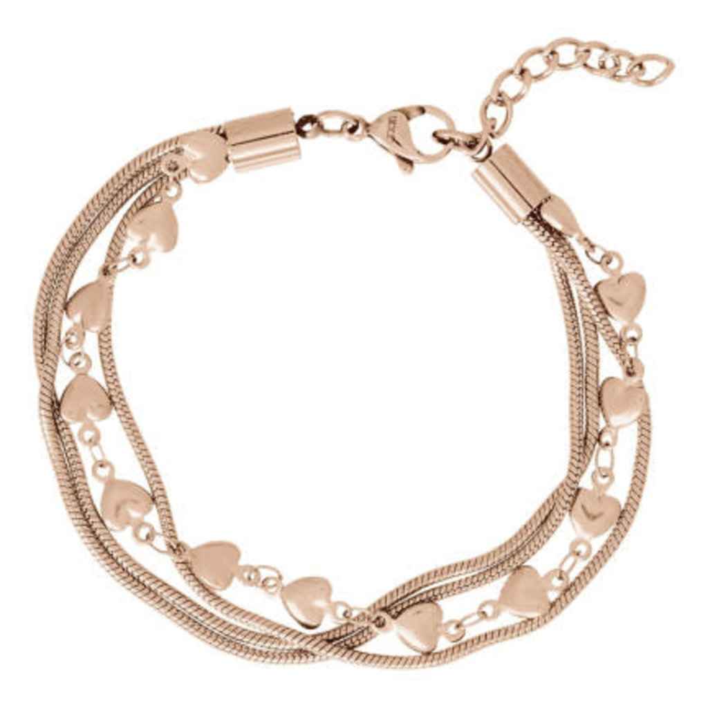 iXXXi Jewelry iXXXi enkelbandje Snake & Hearts Rosé Gold Plated