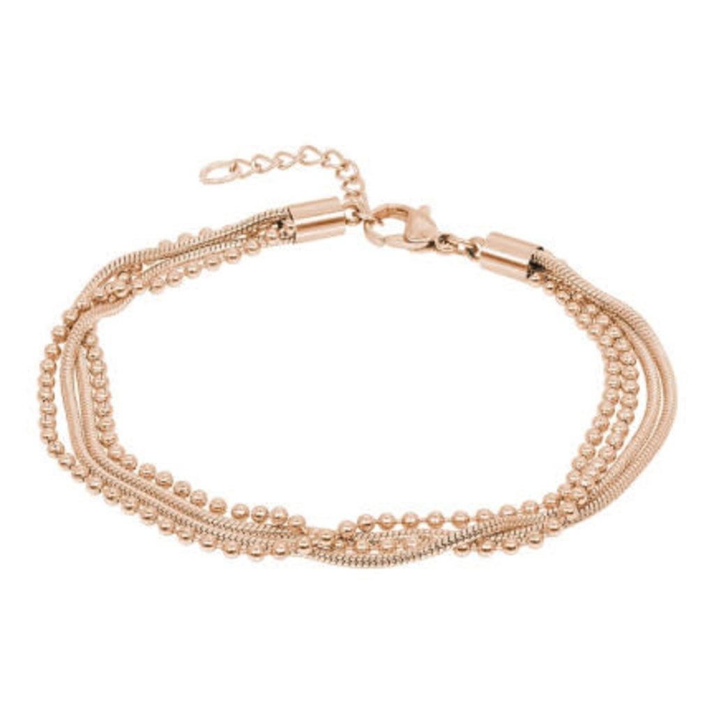 iXXXi Jewelry iXXXi armband Snake Ball Slim Rosé Gold Plated