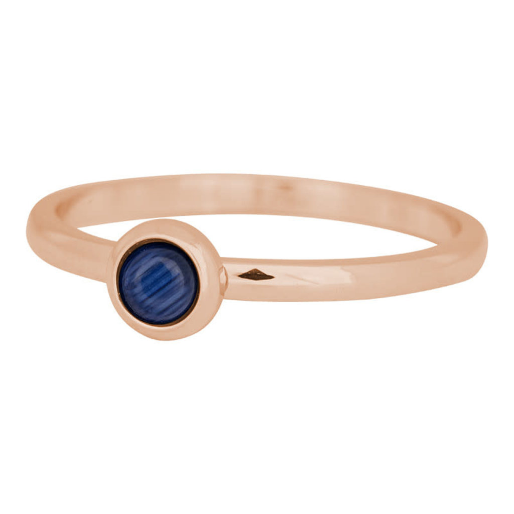 iXXXi Jewelry iXXXi vulring 2 mm Natural Stone Navy Blue Rosé Gold Plated R04102-02