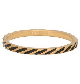 iXXXi Jewelry iXXXi vulring 2 mm Slanting Stripes Matt Gold Plated Fill In R02812-16