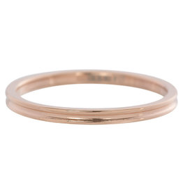 iXXXi Jewelry iXXXi vulring 2 mm Small Ribbed Rosé Gold Plated R02302-02