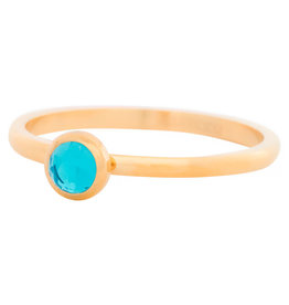 iXXXi Jewelry iXXXi vulring 2 mm Zirconia Stone Water Blue Gold Plated R04104-01
