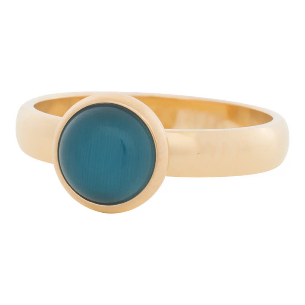 iXXXi Jewelry iXXXi vulring 4 mm Cateye Blue Gold Plated R04306-01