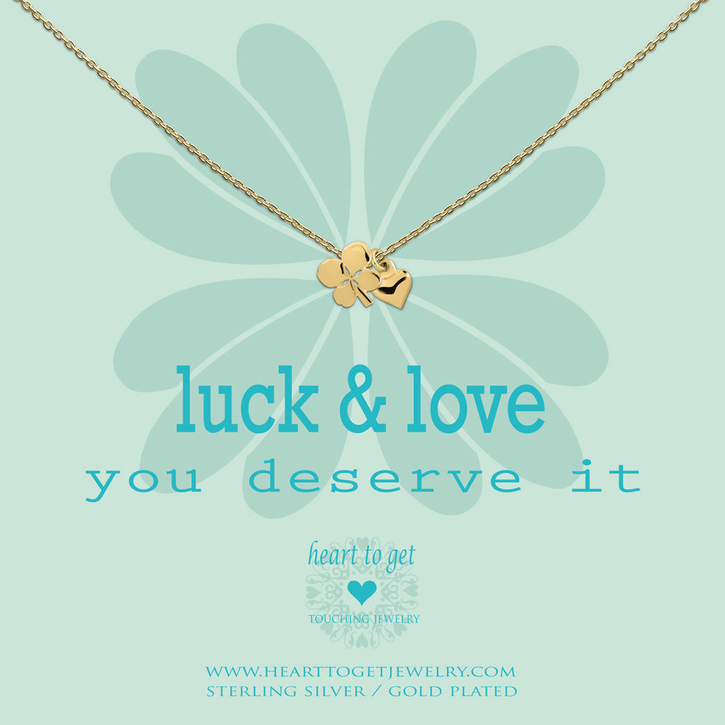 Heart to Get Heart to Get ketting Clover And Heart Gold Plated