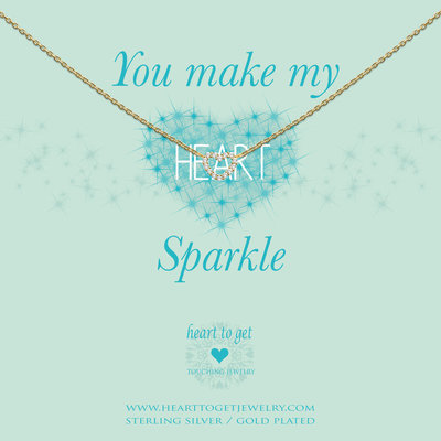 Heart to Get Heart to Get ketting Open Heart Sparkle Gold Plated