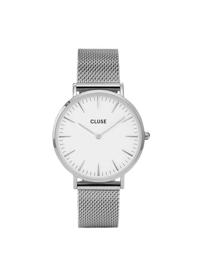 CLUSE horloge Boho Chic Mesh Silver/White