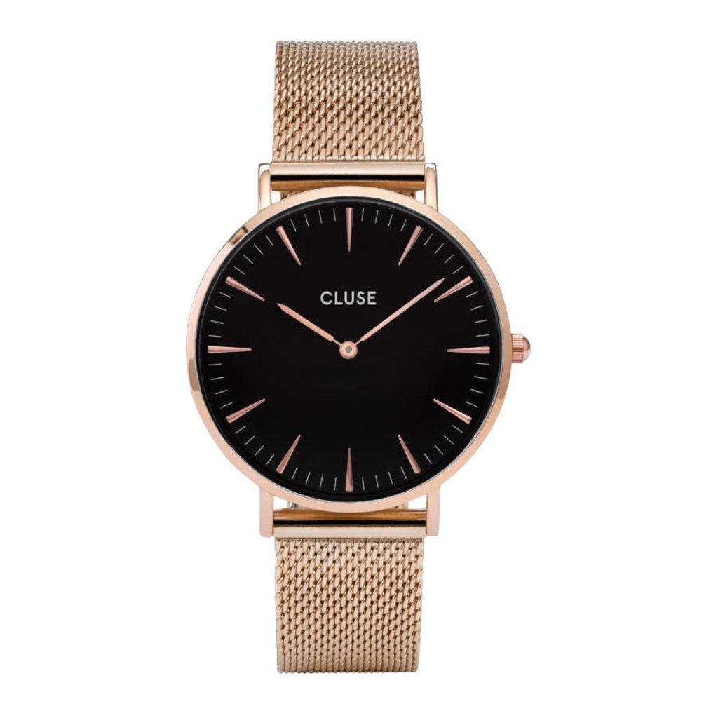 CLUSE CLUSE horloge La Bohème Mesh Rosé Gold/Black