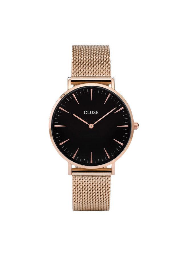 CLUSE horloge Boho Chic Mesh Rosé Gold/Black