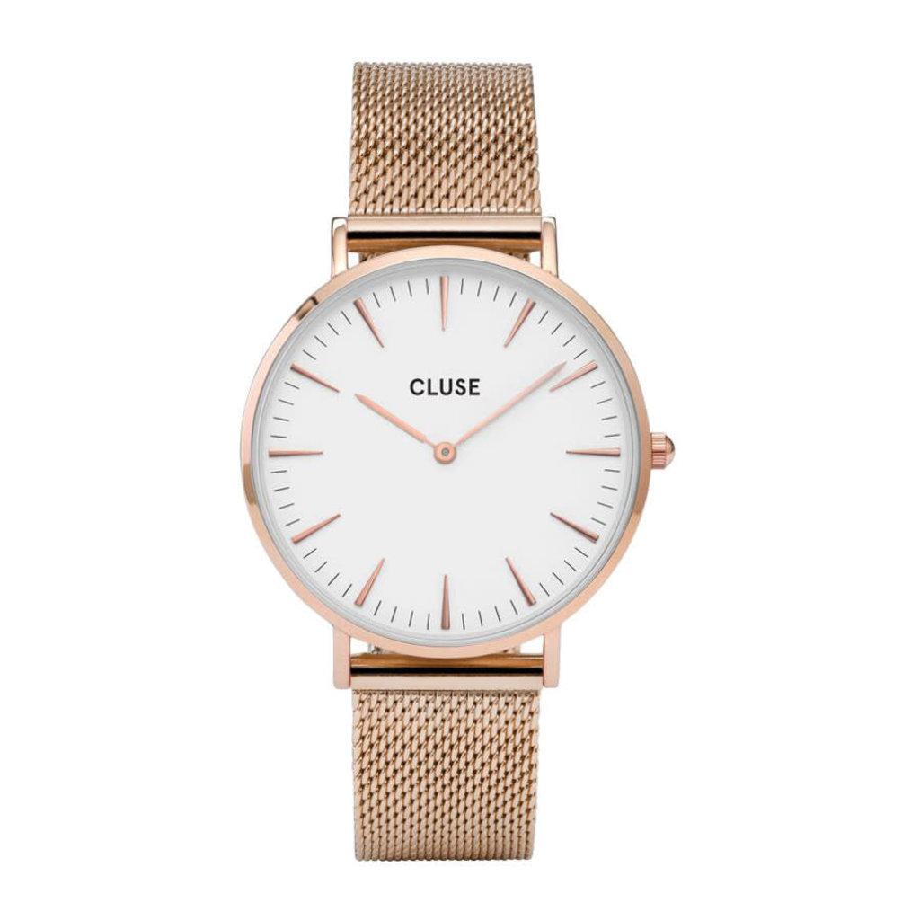 CLUSE CLUSE horloge Boho Chic Mesh Rosé Gold/White