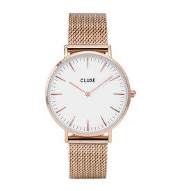 CLUSE CLUSE horloge La Bohème Mesh Rosé Gold/White