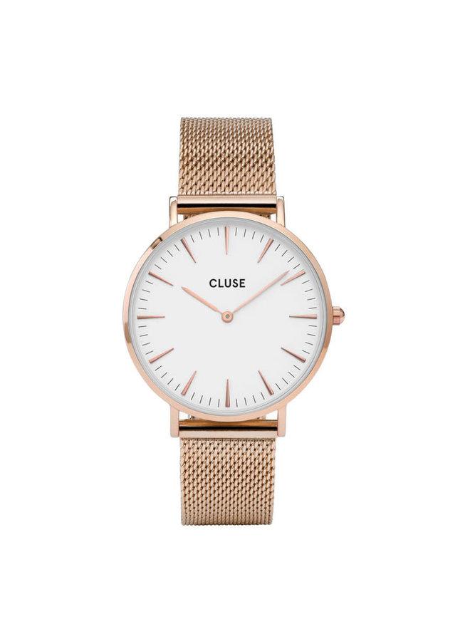 CLUSE horloge Boho Chic Mesh Rosé Gold/White