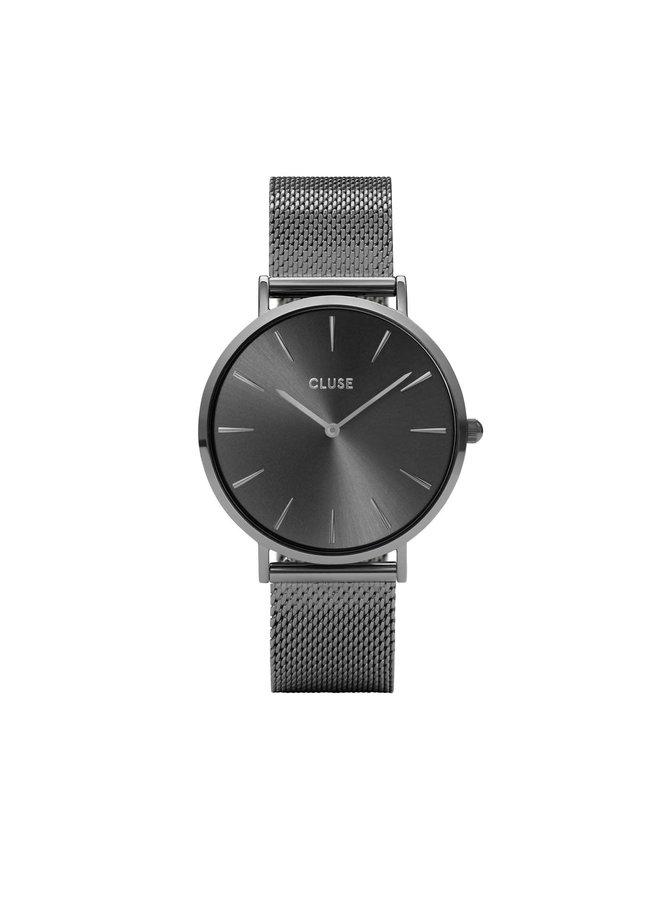 CLUSE horloge Boho Chic Mesh Full Dark Grey